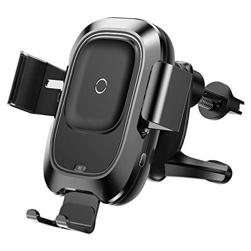 Baseus Kabelloses Handy Autoladegerät, 10W Qi Schnellladung, Automatisches Spannen, Handyhalterung für Lüftung Kompatibel mit iPhone 11/11 Pro/Xs/X, Galaxy Note 9/S9/S9+, Qi-fähige 4,7-6,5 Zoll usw.