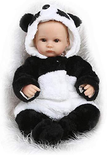 NMQQ Reborn Panda Babypuppen Glatze Kopf Schöne Real Life Weiche Silikon Vinyl Lebensechte Spielzeug 42 cm Neugeborenes Baby Geschenk Realistische Puppen