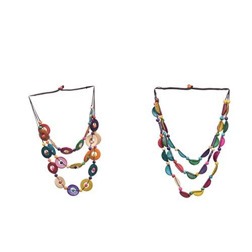 chiwanji 2 Stück Frauen Mode mehrschichtige Bunte Pullover-Kette, Holzperlen, Halskette für Ethno-Stil, Geburtstag, Ostergeschenk für Frauen