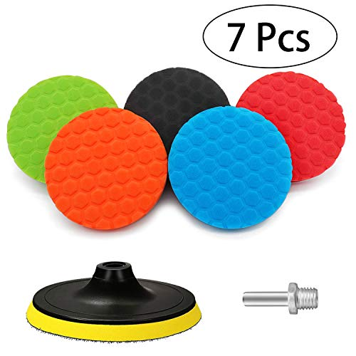Polishing Pads for Car Polisher, Polishing Sponge Pads for Drill, Buffing pads kit with M14 Drill Adapter for Car Polishers and Buffers, Cleaning Care Accessories Professional Set (5 Inch-6 Pcs)