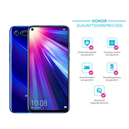 Honor View20 48MP 3D Kamera - 128GB Smartphone Bundle (6,4 Zoll, 4000mAh Akku, Dual-SIM, Android 9.0) + gratis HONOR Protective Cover [Exklusiv bei Amazon] - Deutsche Version, Sapphire Blue
