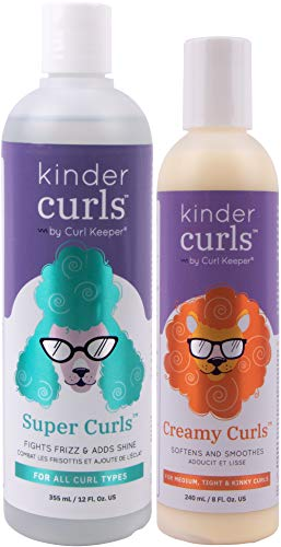 CURLY HAIR SOLUTIONS - Kinder Curls Super Curls (12 Ounces / 354 Milliliters) and Kinder Curls Creamy Curls (8 Ounces / 236 Milliliters) Set
