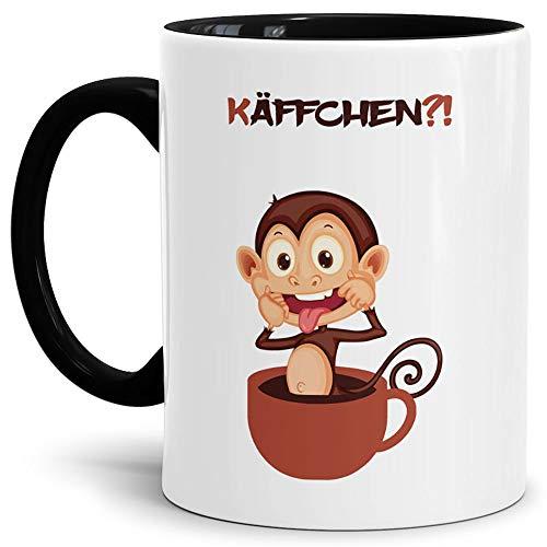 Tassendruck Kaffee-Tasse mit Spruch: Käffchen AFFE/Smiley/Affen-Kopf/Lustig/Witzig/Spaßig/Mug/Cup/Innen & Henkel Schwarz