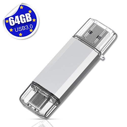 USB Stick 64GB USB C Stick Dual Memory Stick USB 3.0 Flash Drive 2 in 1 Typ-C Speicherstick USB Flash Silber
