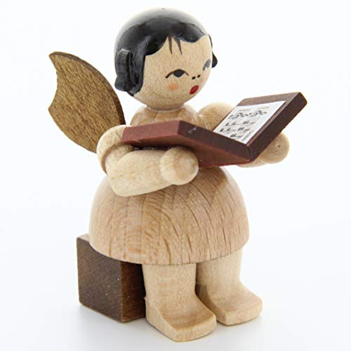 Engel mit Buch - natur - sitzend - 5cm / Weihnachtsengel - Original Erzgebirge Engel -Kunstgewerbe Uhlig