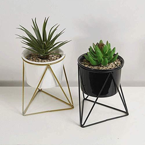 CHUTD Bol de Jardin Pot écologique Ensemble de 2 vases de Plantes pour la décoration de la Maison Creative Fleurs Titulaire Bureau Bureau décoration Bol en Plastique Yamato (Couleur: Noir + Blanc,