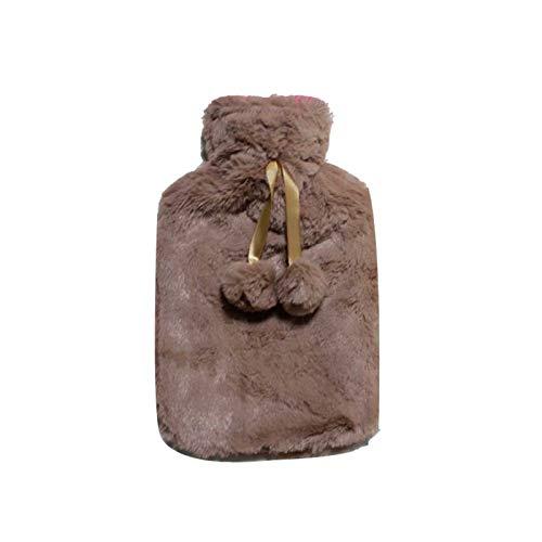 Hochwertige Wärmflasche aus Gummi, reiß- und explosionsgeschützt, Handwärmer mit luxuriösem Bezug aus Kunstplüsch-Fleece Gr. Medium, khaki