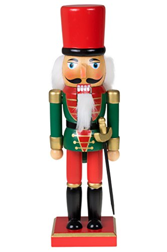 Clever Creations Traditional Christmas Green and Red Soldier Nutcracker | Soldier Outfit with Sword | Festive Christmas Decor | 10' Tall Perfect for Shelves and Tables