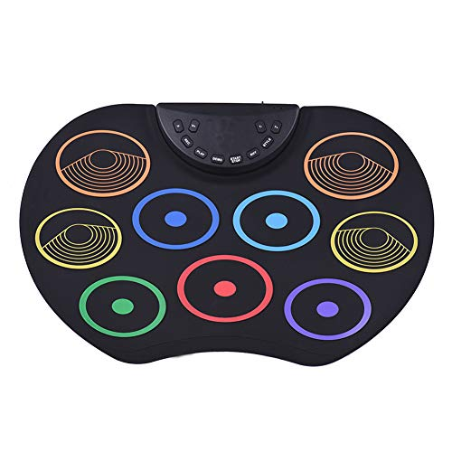 WoRamy Pads Electronic Drum Set, Roll-Up Drum Practice Pad Drum Kit with Headphone Jack Built-in Speaker Drum Pedals Drum .Pedals for Kids Children Beginners