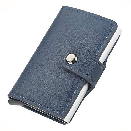 LOTHUS Porta Carte Di Credito Slim RFID 2a Generazione Portafoglio Uomo Donna Sottile Schermato Portamonete Tascabile Porta Tessere Fibra Di Carbonio Alta Qualità (Pelle Blu)