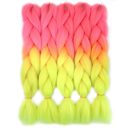 VCKOVCKO Ombre Candy Colors Jumbo Braiding Hair Extension Synthetic Kanekalon Fiber for Twist Braiding Hair,Fluorescent Green Kanekalon Jumbo Box Braiding Hair 24',5 Bundles/Lot,Pink-Fluorescent Green