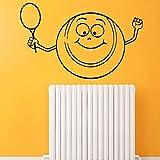 Tianpengyuanshuai Calcomanía de Pared Deportiva Cartoon Smiley Tennis con Cohete Vinilo calcomanía niños decoración65X43cm