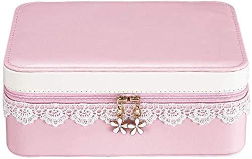 Leifeng Tower Caja de almacenamiento multifuncional para mujer, portátil, de viaje, caja de joyería de doble capa, gran capacidad, caja de almacenamiento de cosméticos (color: rosa)