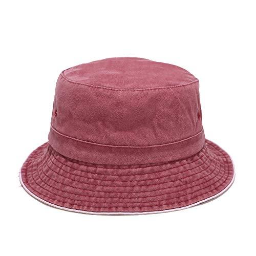 Sombrero de Pescador de Verano Unisex,Sombrero de Pescador de algodón Vintage Unisex, Sombrero para el Sol de Ocio al Aire Libre, Vino Tinto,Gorra de Playa al Aire Libre