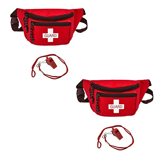 AsaTechmed 2 Pack - Lifeguard Fanny Pack with Whistle Lanyard - Baywatch Style First Aid Hip Pack w/Adjustable Strap, Cross Logo + Zipper Pouch, Emergency Equipment Set