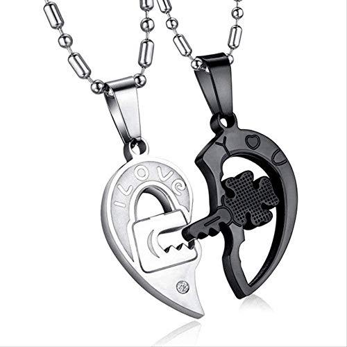Aluyouqi Co.,ltd Collar 1 Par De Amantes Amor Corazón Cerradura Llave Colgante Collar Parejas St Acero Rompecabezas Collar