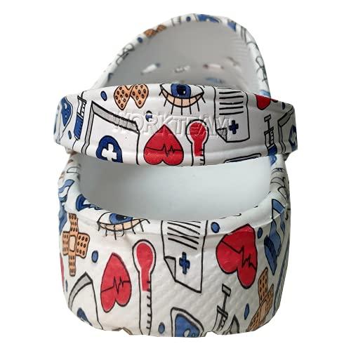 Zuecos Sanitarios Mujer de Trabajo Cómodos de Goma EVA Laboral Enfermera y Hostelería con Diseño Dibujos Hidroimpresión Hospitalario. Talla 38. Talonera en el Mismo diseño