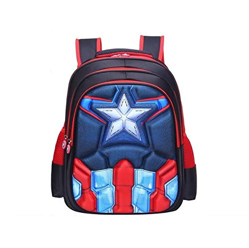 COMPY Children Primary Students Superhero Backpacks Children's Backpack Boys Captain America School Bags For Boys Girls 4 Styles,Captain America Red,Small (36x15x30cm)
