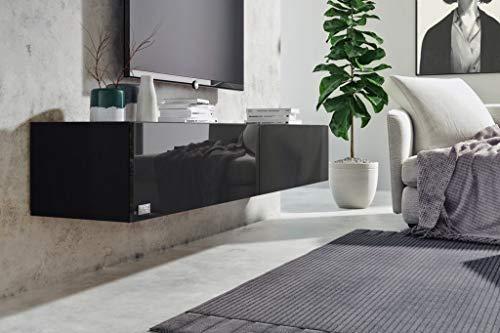 Wuun® 140cm/Schwarz-Hochglanz (Korpus Schwarz-Matt)/8 Größen/5 Farben/TV Lowboard TV Board hängend Hängeschrank Wohnwand/Somero