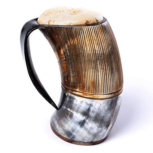 Loop Beber Cuerno Taza Jarra edición Especial - Mano Grabado Original Cuerno Taza de la Taza de Mead, ale y Cerveza - (patrón 1, 500 ml | 16 oz)