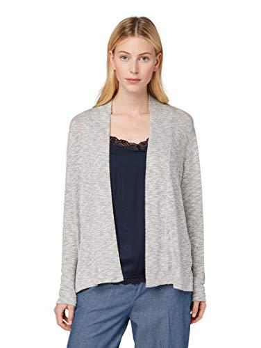 TOM TAILOR Damen T-Shirts/Tops Schlichter Cardigan Silver Grey Melange,M