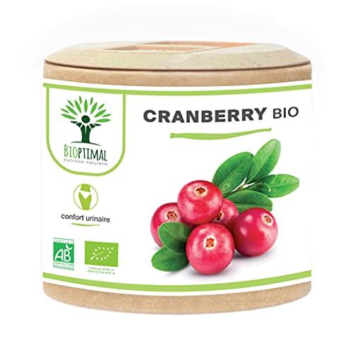 Cranberry Bio - Bioptimal - Complément Alimentaire - 100% Canneberge Sans Sucre - Infection Urinaire Cystite - 36mg de Proanthocyanidines par Jour - Fabriqué en France - Certifié Ecocert - 60 gélules