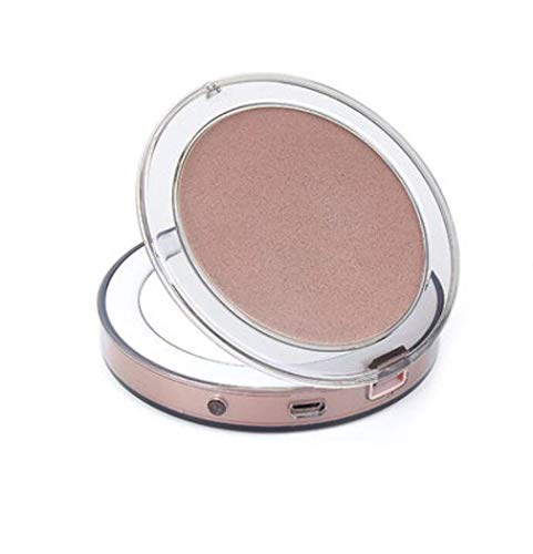 Espejo plegable de maquillaje iluminado Pequeño bolsillo compacto maquillaje espejo portátil LED Vanity Mirror 1x / 3x Ampliación Luz natural USB cobrando para el viaje en casa, Rosegold