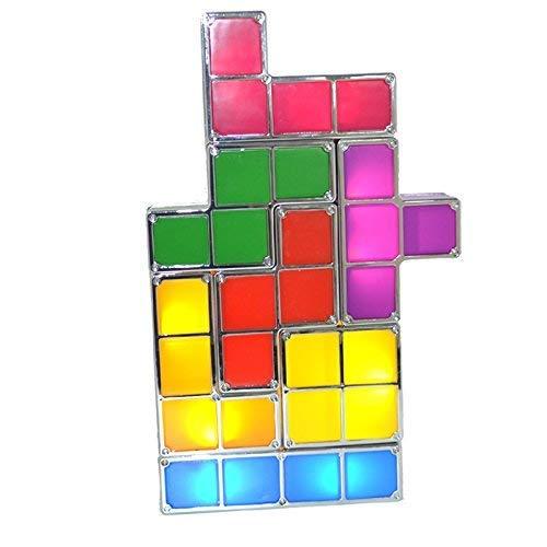 LONGJUAN-C Las Luces de los niños más Nuevo de la Novedad de la lámpara Tetris Juego Retro Torre Estilo de Bloque Fresco Juego de luz de la Noche LED