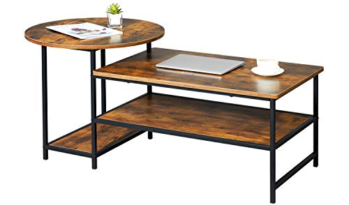 WOHOMO Coffee Table Round Coffee Table and Rectangular Coffee Table 2 in 1 Industrial Modern Style Coffee Table for Living Room, Rustic Brown