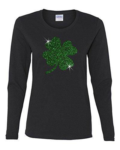 St. Patricks Day Green Glitter Lucky Clover Ladies' Long-Sleeve Shirt Black L