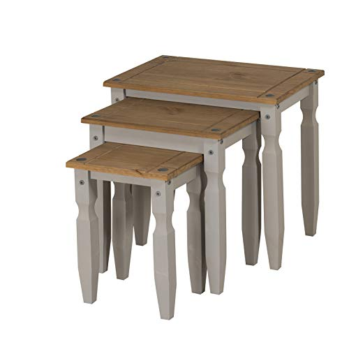 Mercers Furniture Trade Corona Grey Wax Piccolo Nest of Tables