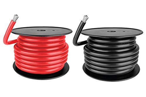 2 AWG Marine Wire - Tinned Copper Battery Boat Cable - 5 Feet Red, 5 Feet Black - Made in The USA