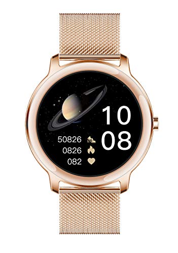 Aliwisdom Smartwatch für Damen, 1,1 Zoll Rund Fashion Smart Watch Fitness Uhr Wasserdicht Sport Armbanduhr Fitness Tracker Mit Whatsapp SMS-Lesefunktion für iOS Android (Metallband, Roségold)