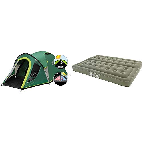 Coleman Kobuk Valley 3 Plus Tent - Green/Grey, One Size & Comfort Double Flocked Surface Inflatable Camp Air Bed - Green, 188 x 137 x 22 cm