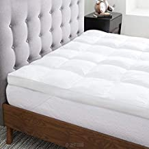 LUCID Ultra Plush 3 Inch Down Alternative Fiber Bed Mattress Topper-Allergen Free Pillow Top-Soft and Breathable Cotton Percale Cover, King, White