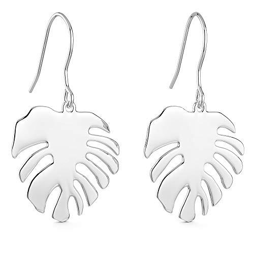 THIORA® - Blatt Ohrringe Damen | 925 Silber | Sommer | Monstera Leaf Fensterblatt | Sterling Echtsilber Schmuck | Ohrstecker French Hook (Silber)