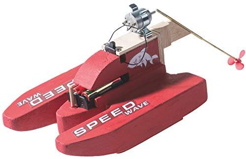 matches21 Rennboot Speedboot Motorboot Boot mit Elektromotor Bausatz Elektrobausatz Werkset für Kinder ab 10 Jahre