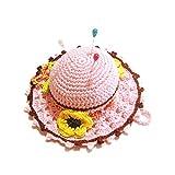 Alfiletero rosa y marrón en forma de sombrero de ganchillo - Tamaño: ø 11.5 cm - Handmade - ITALY