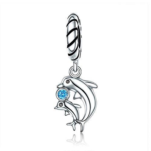 EvesCity Bolenvi - Abalorio de plata de ley 925, diseño de delfín, mamá, bebé, día de la madre, para pulseras y collares
