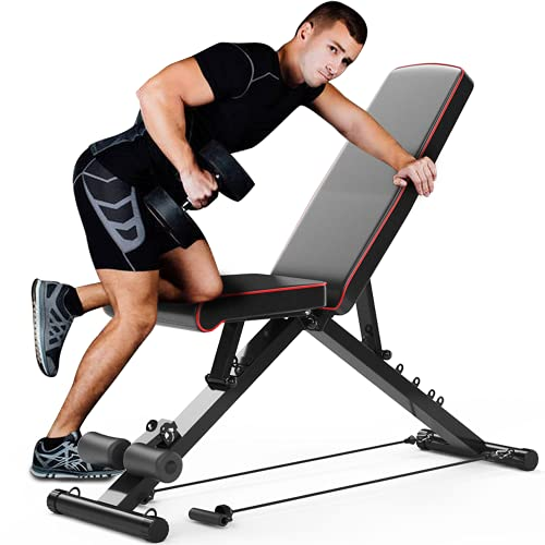 YOLEO Adjustable Weight Bench, 330lbs 7 Level Foldable Workout Bench...