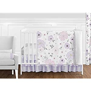 Sweet Jojo Designs Lavender Purple, Pink, Grey and White Shabby Chic Watercolor Floral Baby Girl Nursery Crib Bedding Set – 11 pieces – Rose Flower Polka Dot