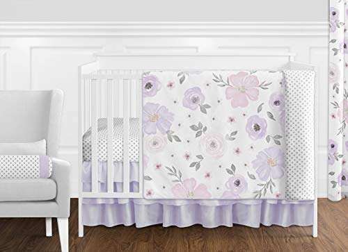Sweet Jojo Designs Lavender Purple, Pink, Grey and White Shabby Chic Watercolor Floral Baby Girl Nursery Crib Bedding Set - 11 pieces - Rose Flower Polka Dot