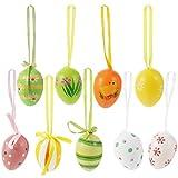 TOYANDONA 24Pcs di Pasqua Decorazioni Uovo Appeso Ornamenti Colorato di Plastica Uova di Pasqua Albero di Ornamenti 4 * 3Cm Stile Misto