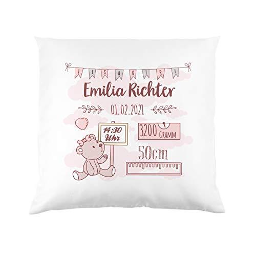 Striefchen® Kissen als Geschenk zur Taufe oder Geburt mit Namen & Datum - Teddybär - Babygeschenk oder Geburtskissen Mädchen