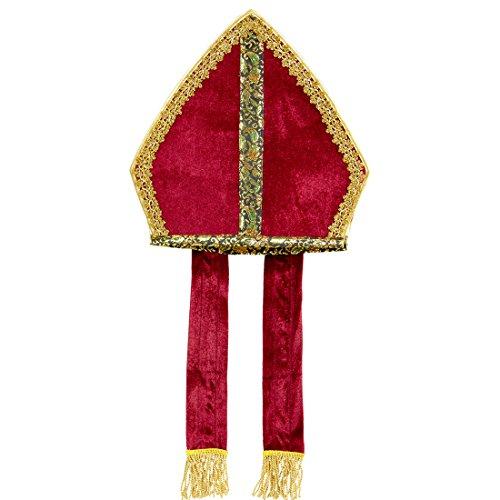 Amakando Nikolaus Mitra Nikolausmütze Kirche Nikolaus Hut Mitre Bischofshut Papstmütze Kostüm Accessoire Edle Bischofsmütze