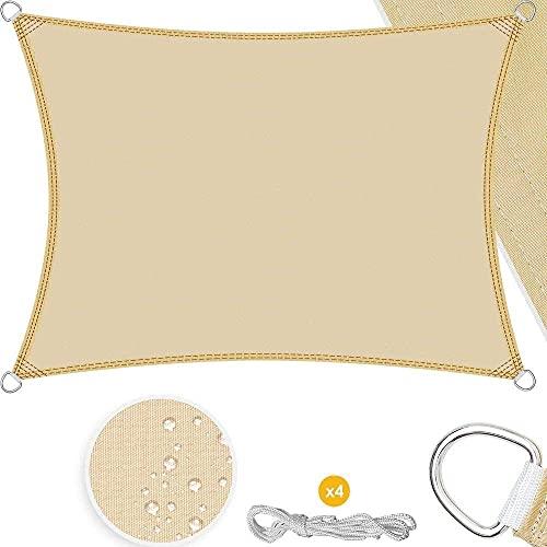showyow Vela Parasol, toldos Impermeables para Patios de 3,6 MX 2,5 m, Velas para toldo de Playa con Sombra de jardín, beige-3x4 m