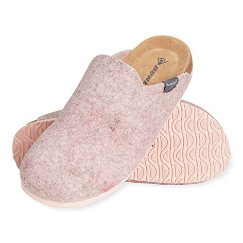 Dunlop Zapatillas Mujer, Zapatillas Casa Mujer de Felpa, Pantuflas Mujer Suela de Goma Antideslizante, Regalos para Mujer y Adolescentes Talla 36-41 (Rosa, Numeric_38)