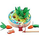 Ocobudbxw - Puzzle para niños pequeños, Juego de Granja Feliz, Tirar de Zanahoria, Pesca, Gusano,...