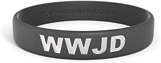 Reminderband - WWJD Black 100% Silicone Wristband - Silicone Rubber Bracelet - Christian Religious Events, Motivation, Gifts, Support, Causes, Fundraisers, Awareness - Men, Women, Kids