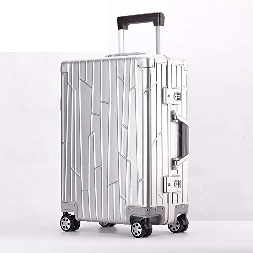 SFBBBO luggage suitcase 100% Aluminum alloy material spinner travel suitcase laptop trolley hand luggage for travelling 20' Silver